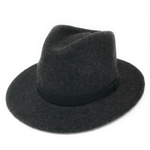 Fedora Hat Crushable Wool Felt with Leather Belt Trim - Charcoal - Haydock